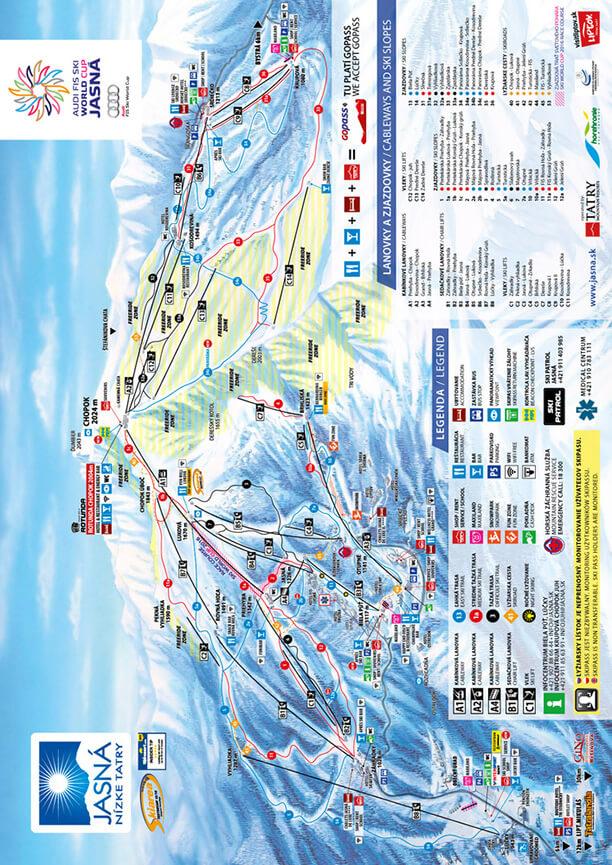 Jasna Ski Area Snowboarding Map