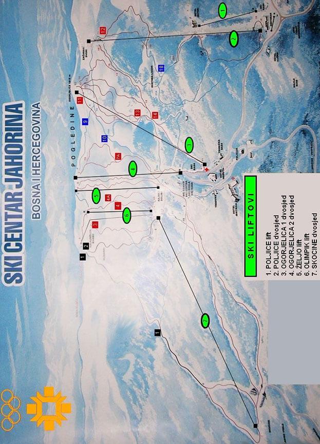 Jahorina Ski Area Snowboarding Map