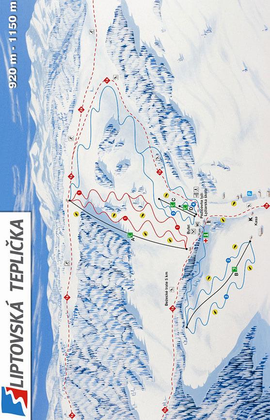 Liptovska Teplicka Ski Resort Snowboarding Map