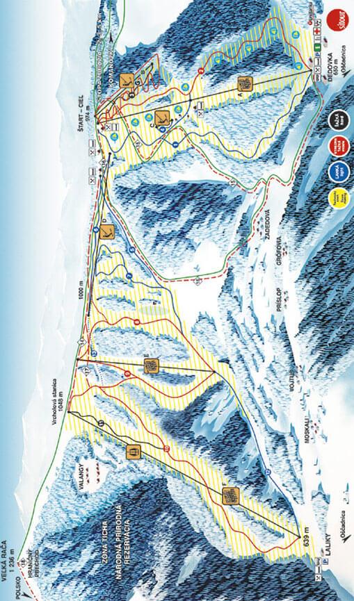 Velka Raca Ski Resort Snowboarding Map