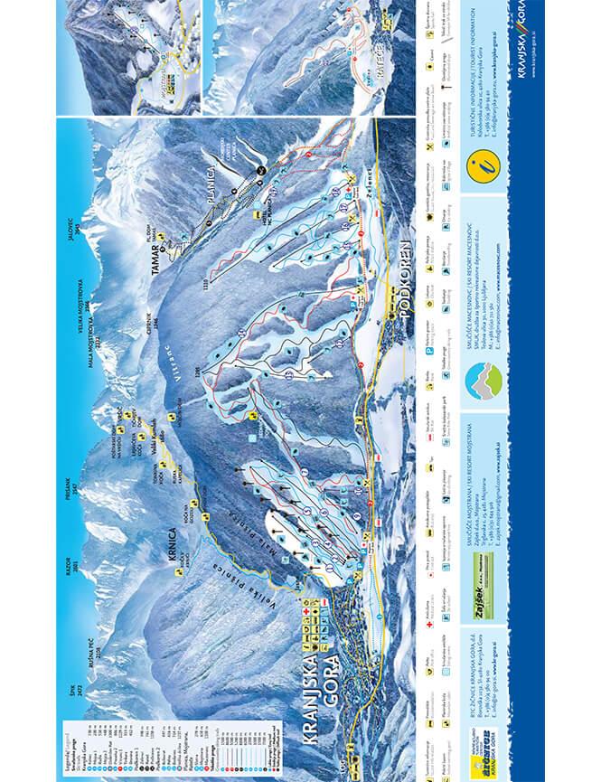 Kranjska Gora Ski Area Snowboarding Map