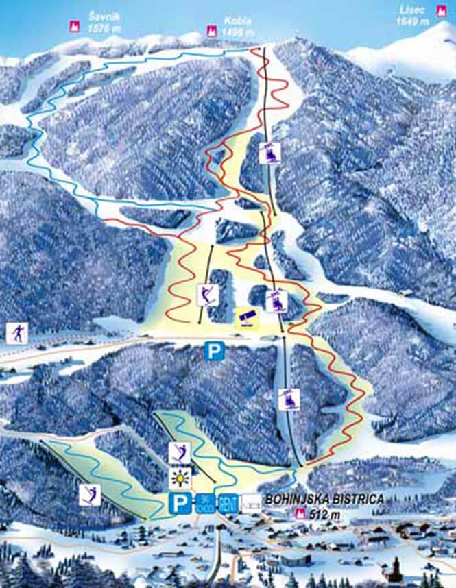 Kobla Ski Area Snowboarding Map
