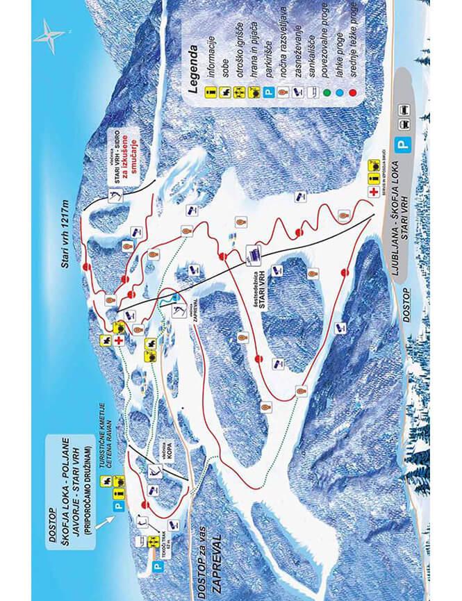 Stari Vrh Ski Resort Snowboarding Map