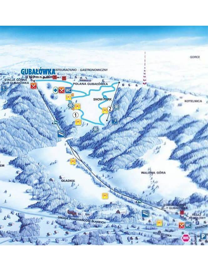 Gubalowka Ski Area Snowboarding Map