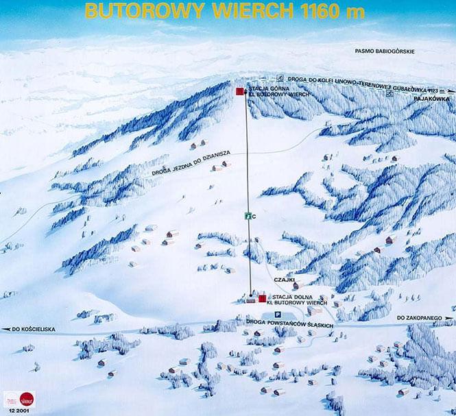 Butorowy Wierch Snowboarding Map