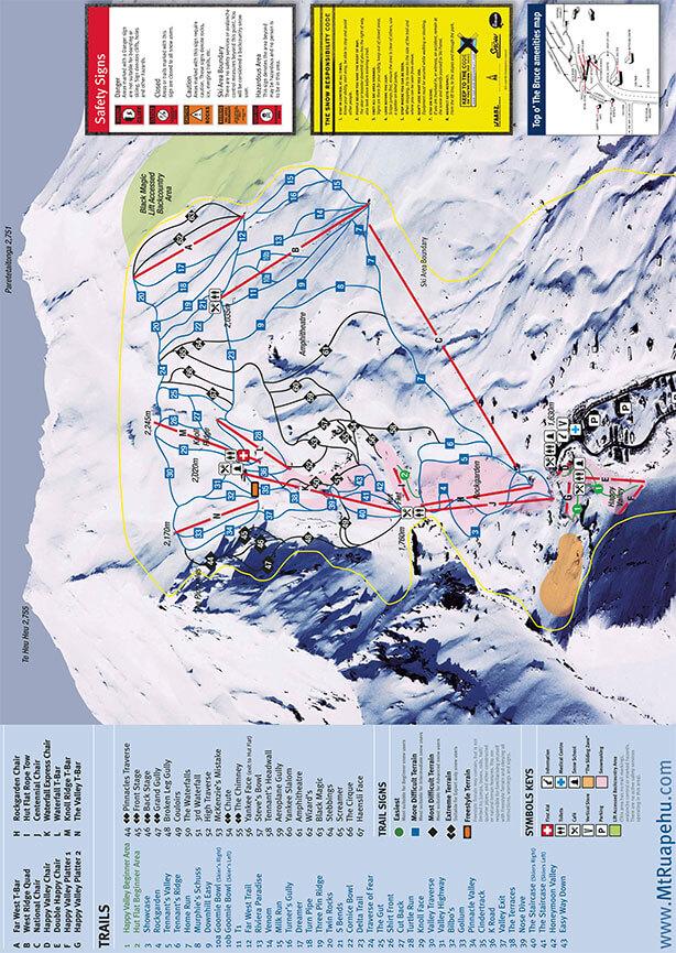 Whakapapa Ski Area Snowboarding Map