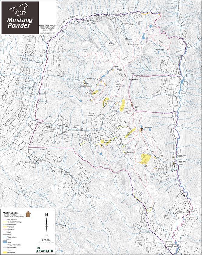 Mustang Powder Lodge Snowboarding Map