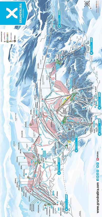 Pas de la Casa Snowboarding Map