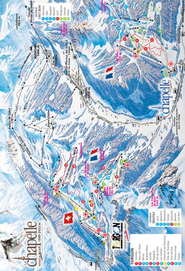 La Chapelle d Abondance Snowboarding Map