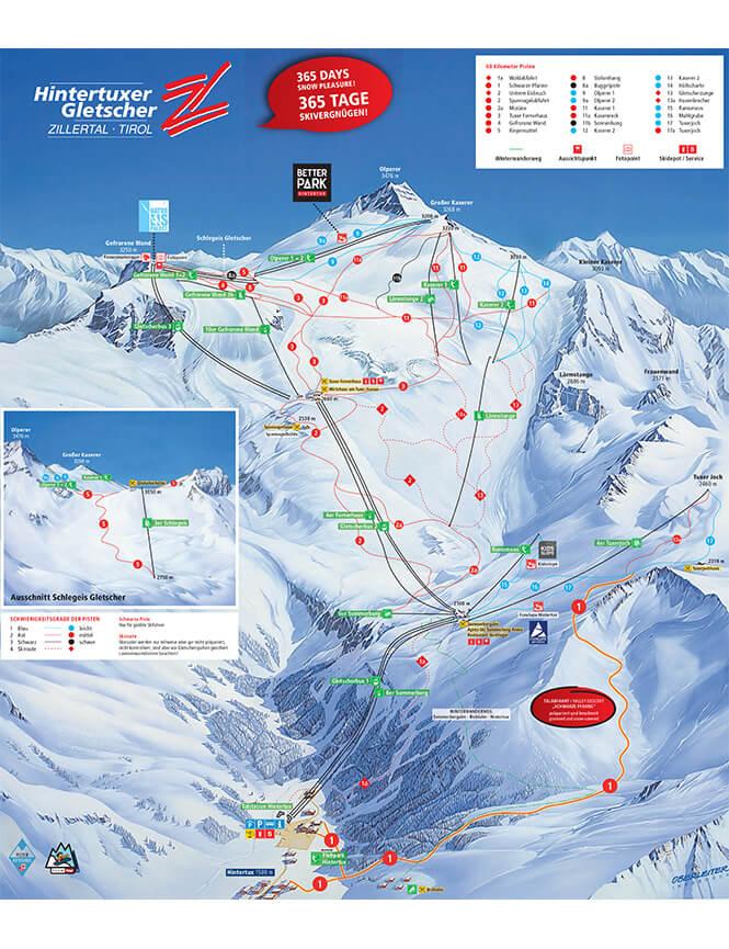 Hintertux Snowboarding Map
