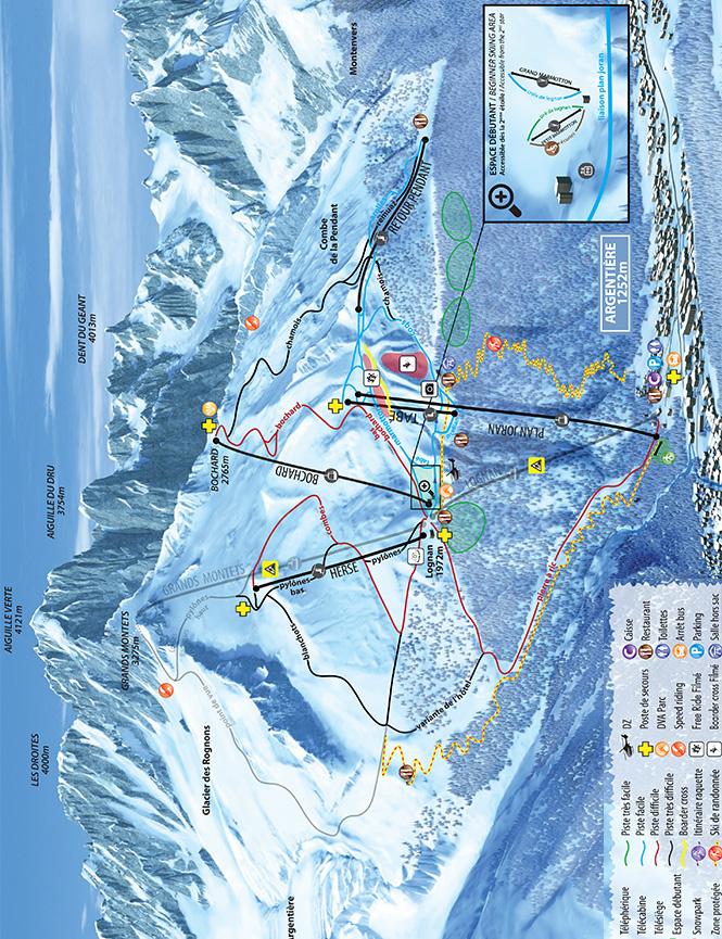 Les Grands Montets Snowboarding Map