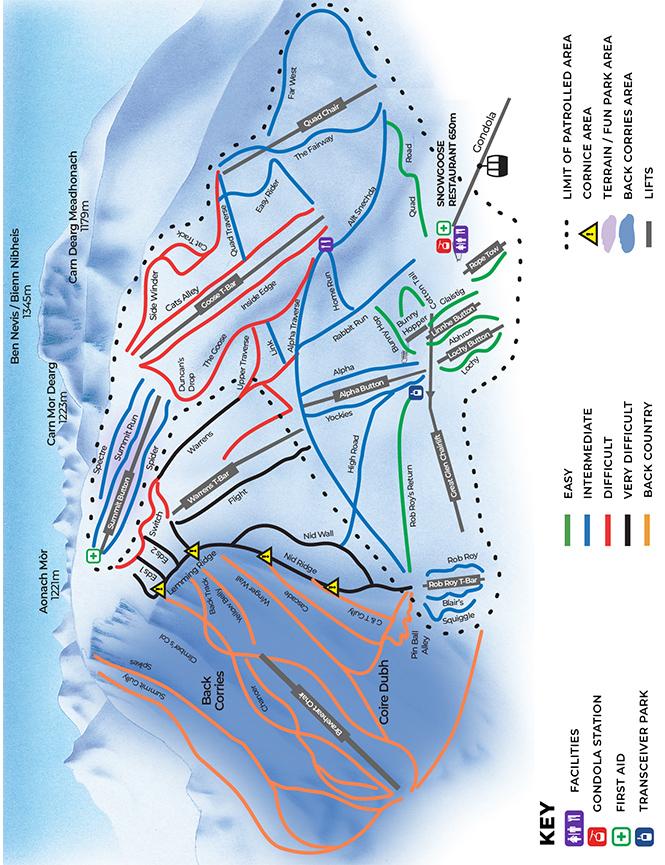 Nevis Range Ski Centre Snowboarding Map