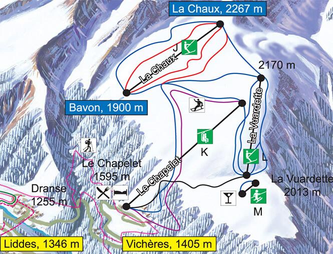 Vicheres-Liddes Snowboarding Map