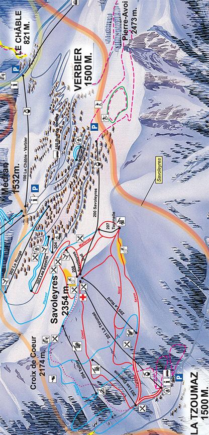 La Tzoumaz Snowboarding Map