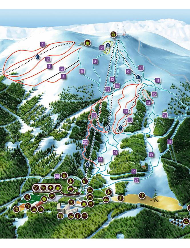 Manzaneda Ski Area Snowboarding Map
