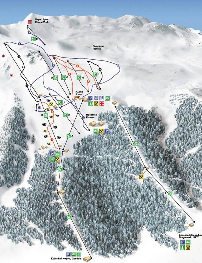Vitosha Ski Centre Snowboarding Map