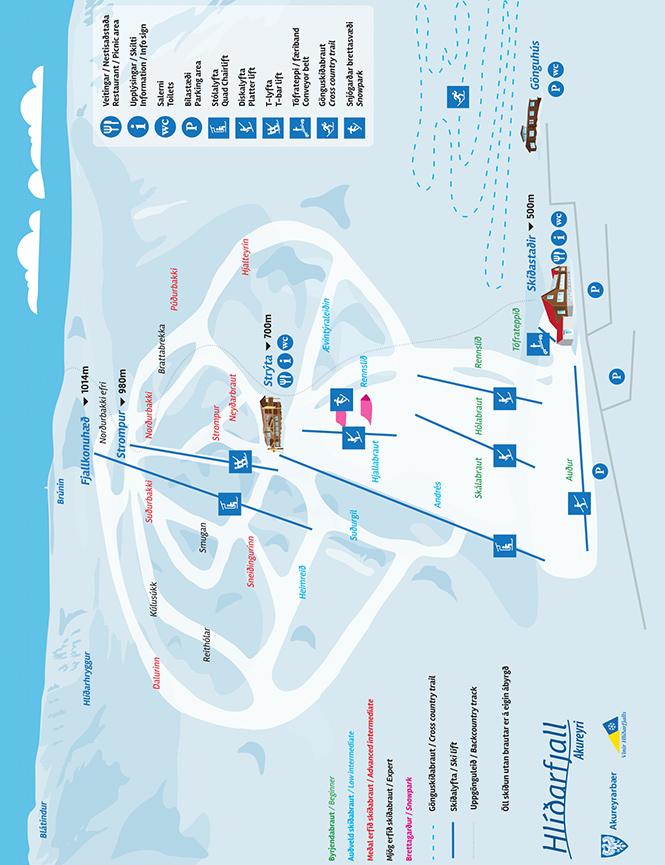 Hlidarfjall Ski Area Snowboarding Map