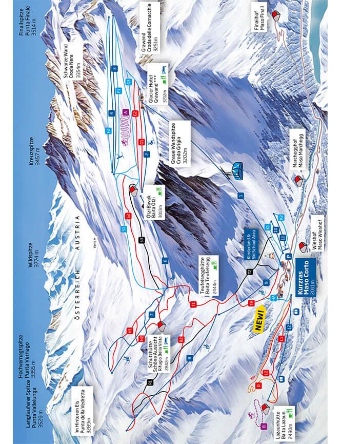 Val Senales-Schnaltal Ski Area Snowboarding Map