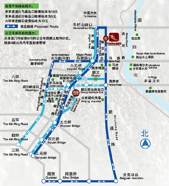 Beijing Qiaobo Sno World Snowboarding Map
