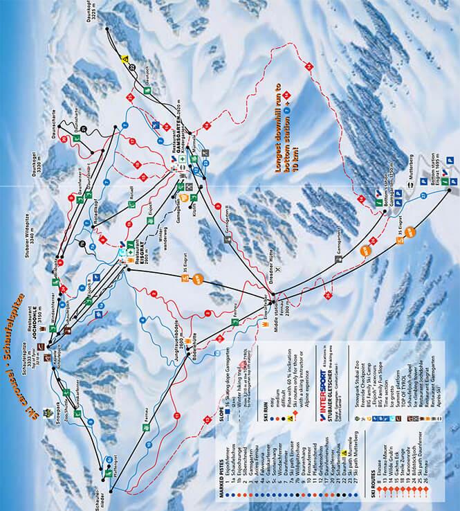 Stubaier Gletscher Snowboarding Map