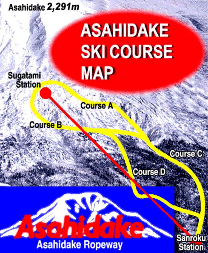 Asahidake Ropeway Snowboarding Map