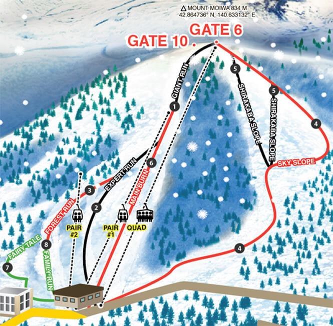 Niseko Moiwa Snowboarding Map