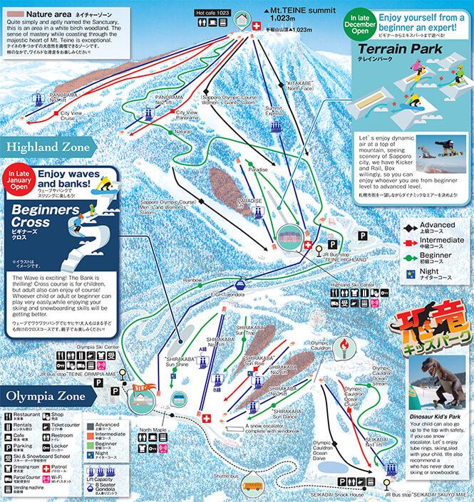 Sapporo Teine Snowboarding Map