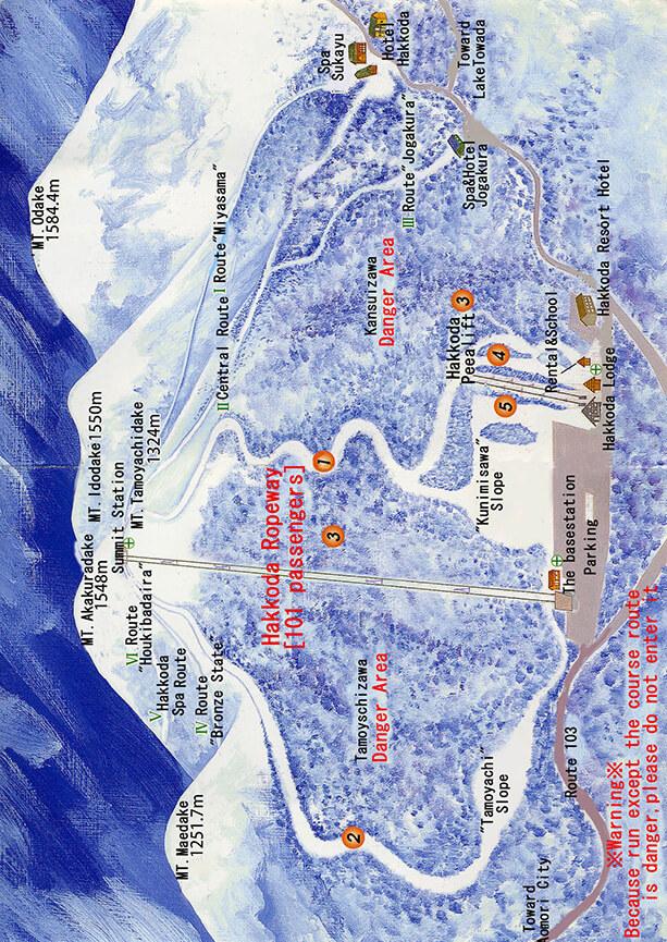 Hakkoda Ropeway Snowboarding Map