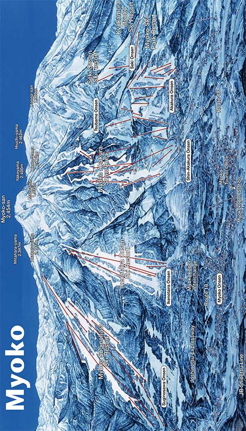 Myoko Kogen Snowboarding Map