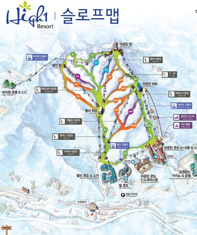 High1 Ski Resort Snowboarding Map