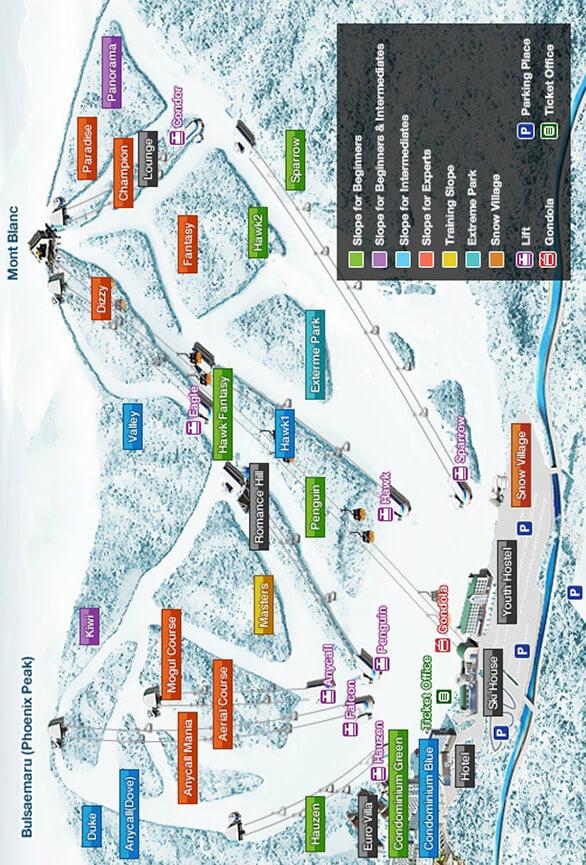 Bokwang Phoenix Snowpark Snowboarding Map