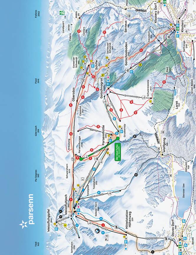Parsenn Gotschna Snowboarding Map