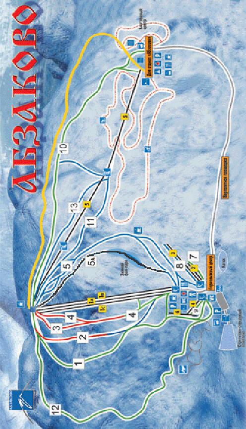 Abzakovo Ski Area Snowboarding Map