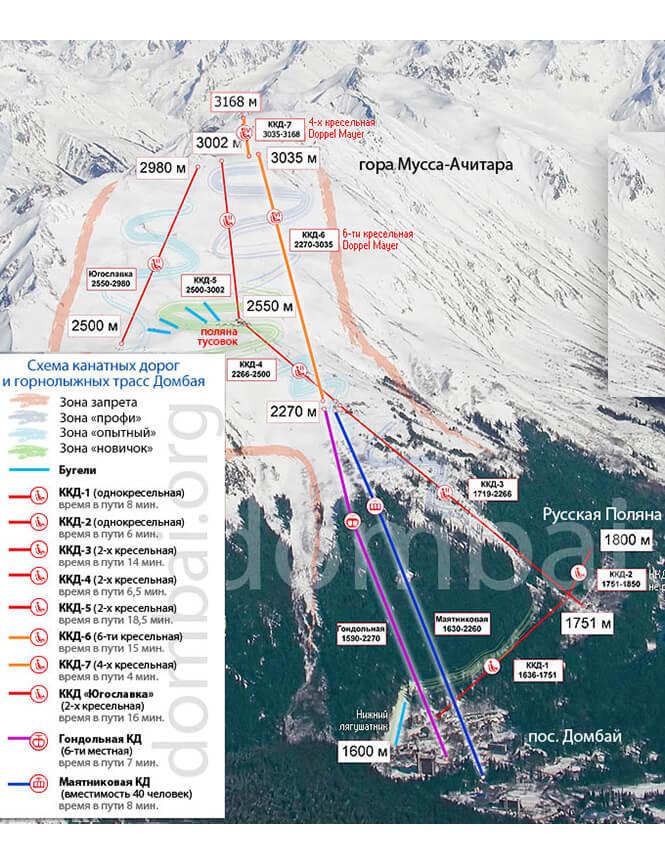 Dombai Ski Area Snowboarding Map