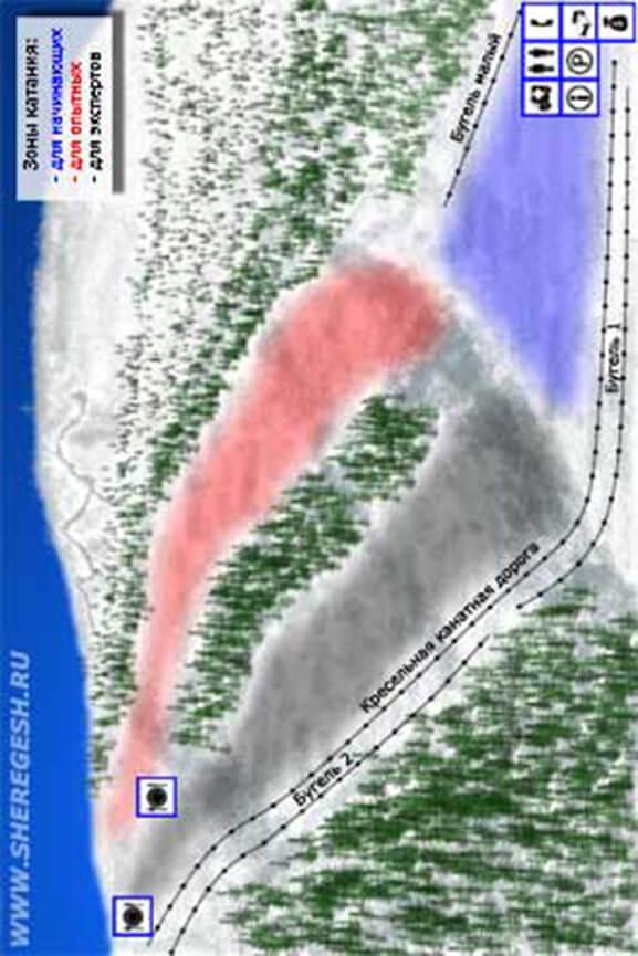 Sheregesh Ski Area Snowboarding Map