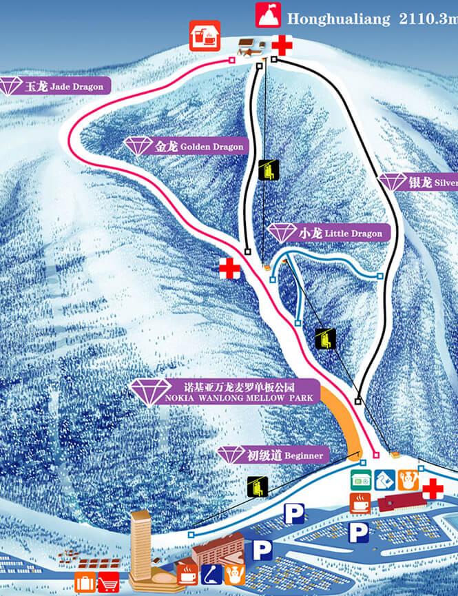 Wanlongbayi Ski Village Snowboarding Map