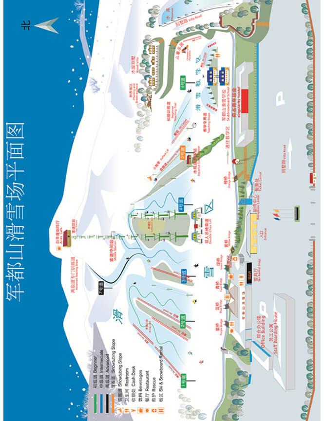 Jundushan Ski Village Snowboarding Map