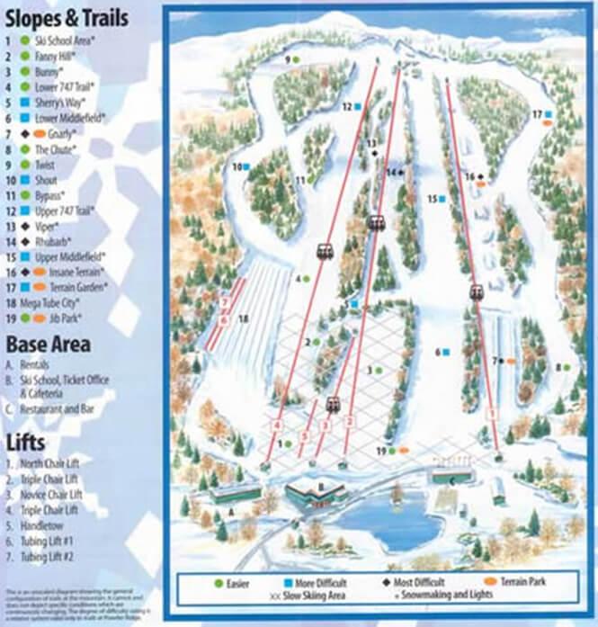 Powder Ridge Ski Area Snowboarding Map