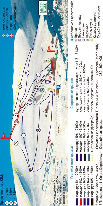 Kirovsk Ski Station Snowboarding Map