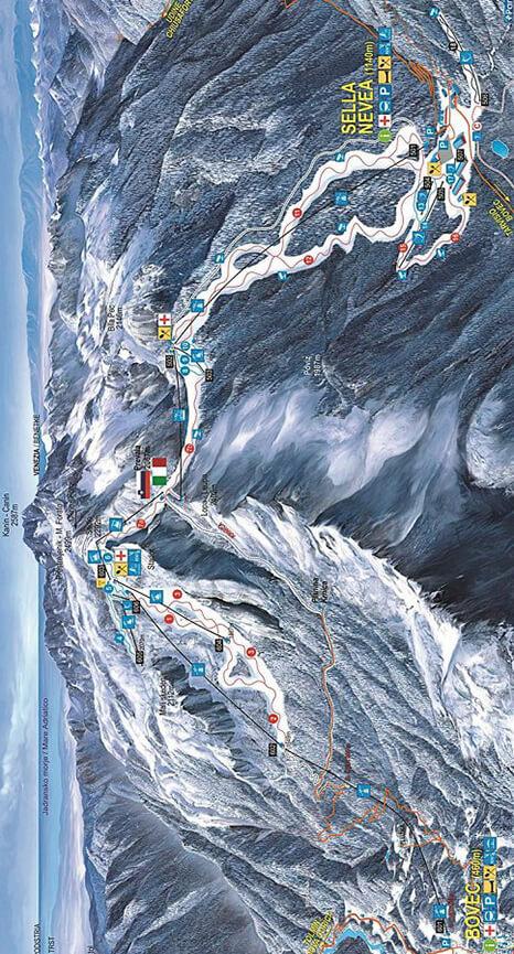 Kanin-Blovec Ski Resort Snowboarding Map
