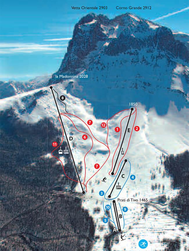 Prati di Tivo Snowboarding Map