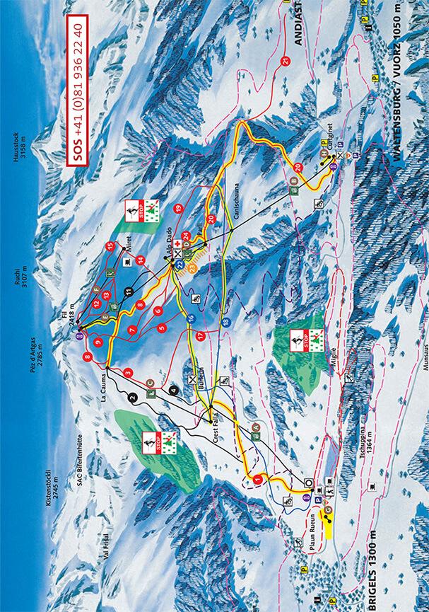 Ski Brigels-Waltensburg-Andiast Snowboarding Map