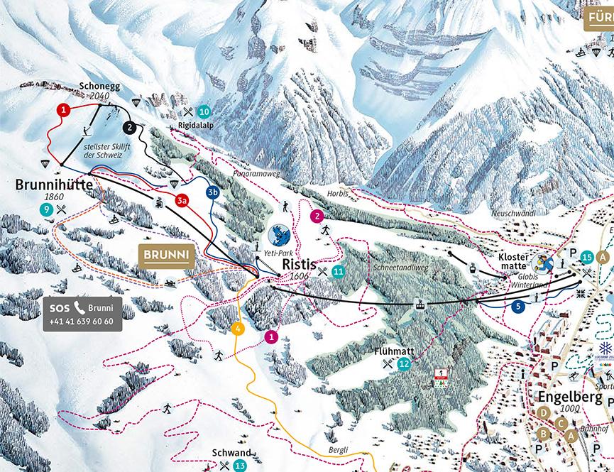 Engelberg Brunni Snowboarding Map
