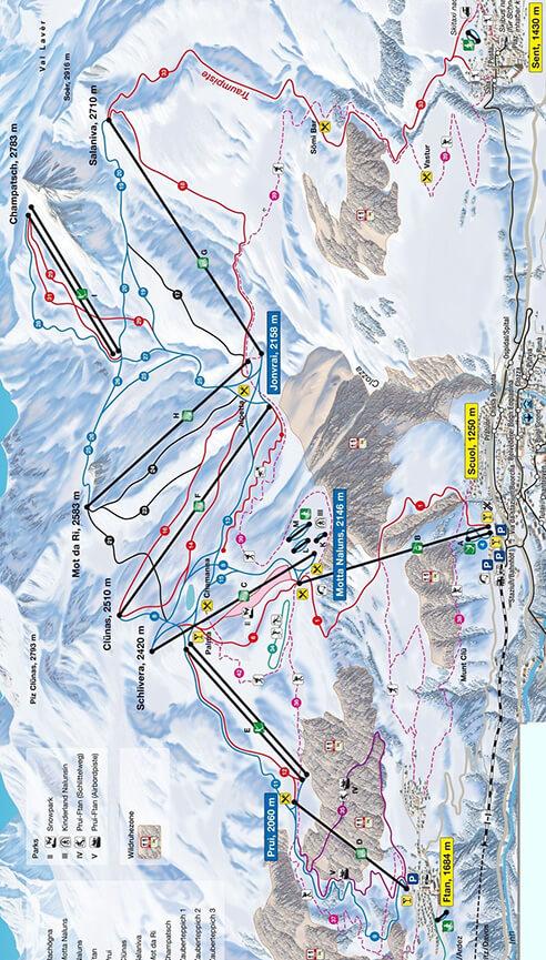Scuol Motta Naluns Snowboarding Map