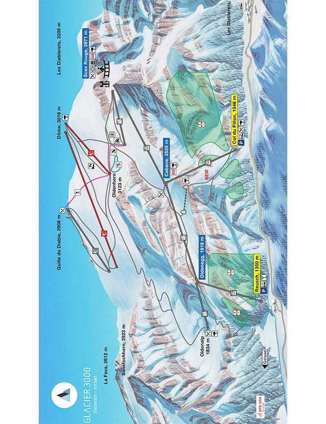 Glacier 3000 Snowboarding Map