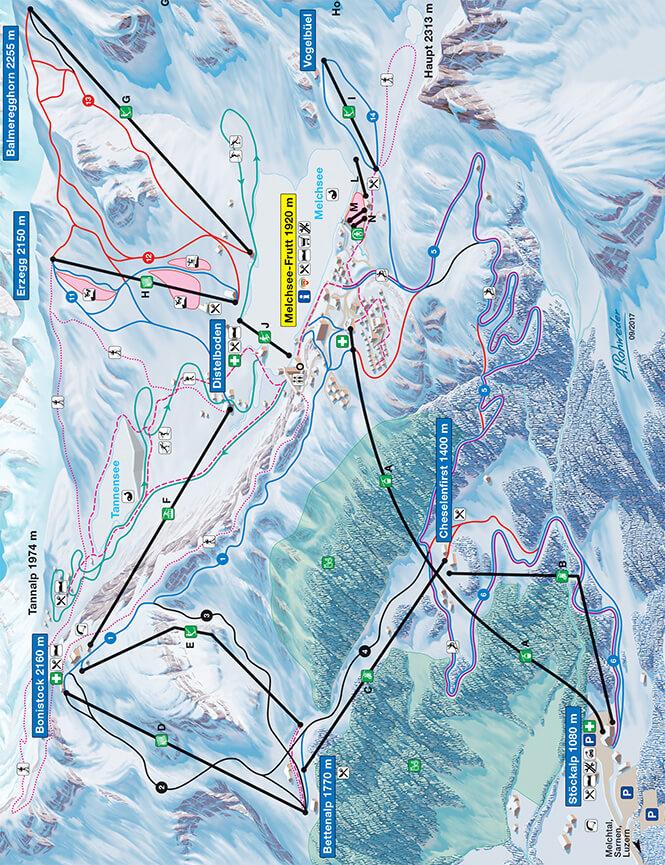 Melchsee-Frutt Snowboarding Map