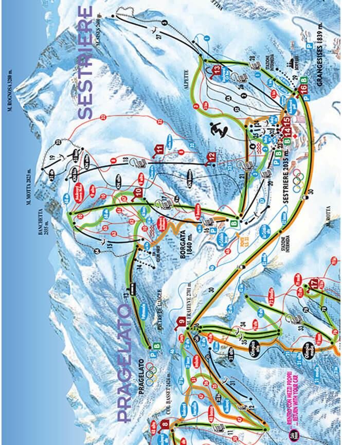 Sestriere Snowboarding Map