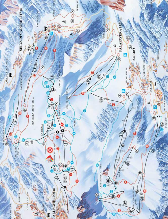 Civetta Snowboarding Map