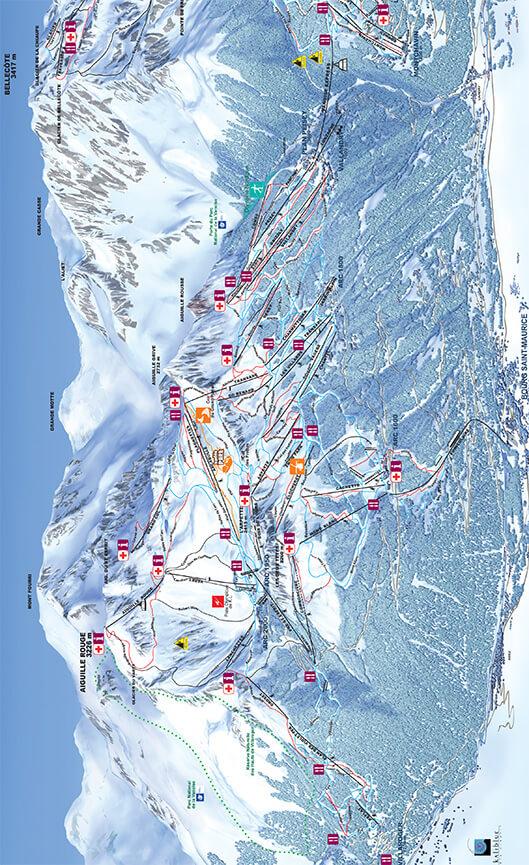 Les Arcs Snowboarding Map
