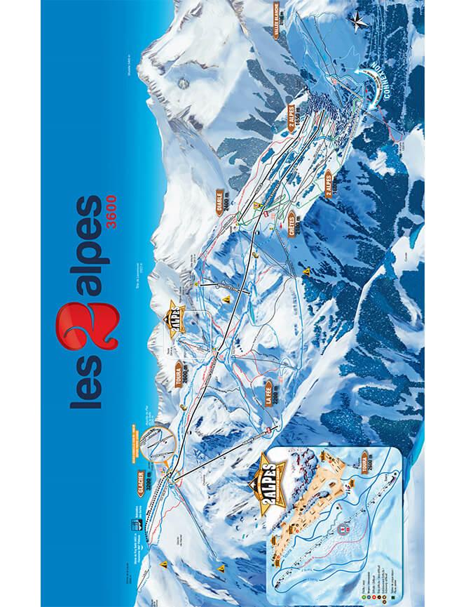 Les Deux Alpes Snowboarding Map